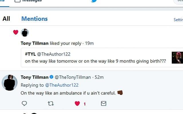 Twitter conversation with Tony Tillman