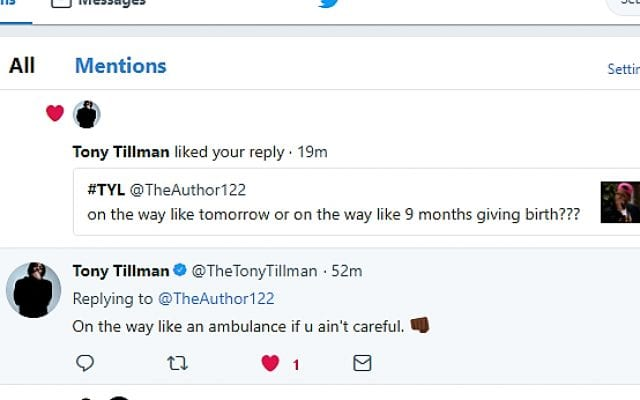 Twitter conversation with Tony Tillman